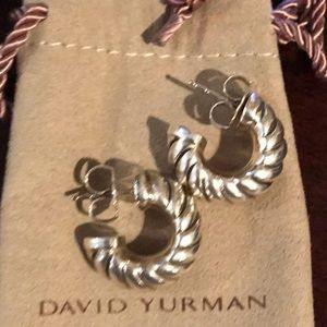 David Yurman Sterling Cable Shrimp Earrings